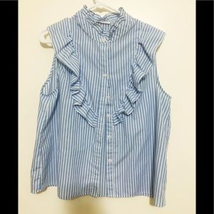 Love J striped and ruffle button up shirt.